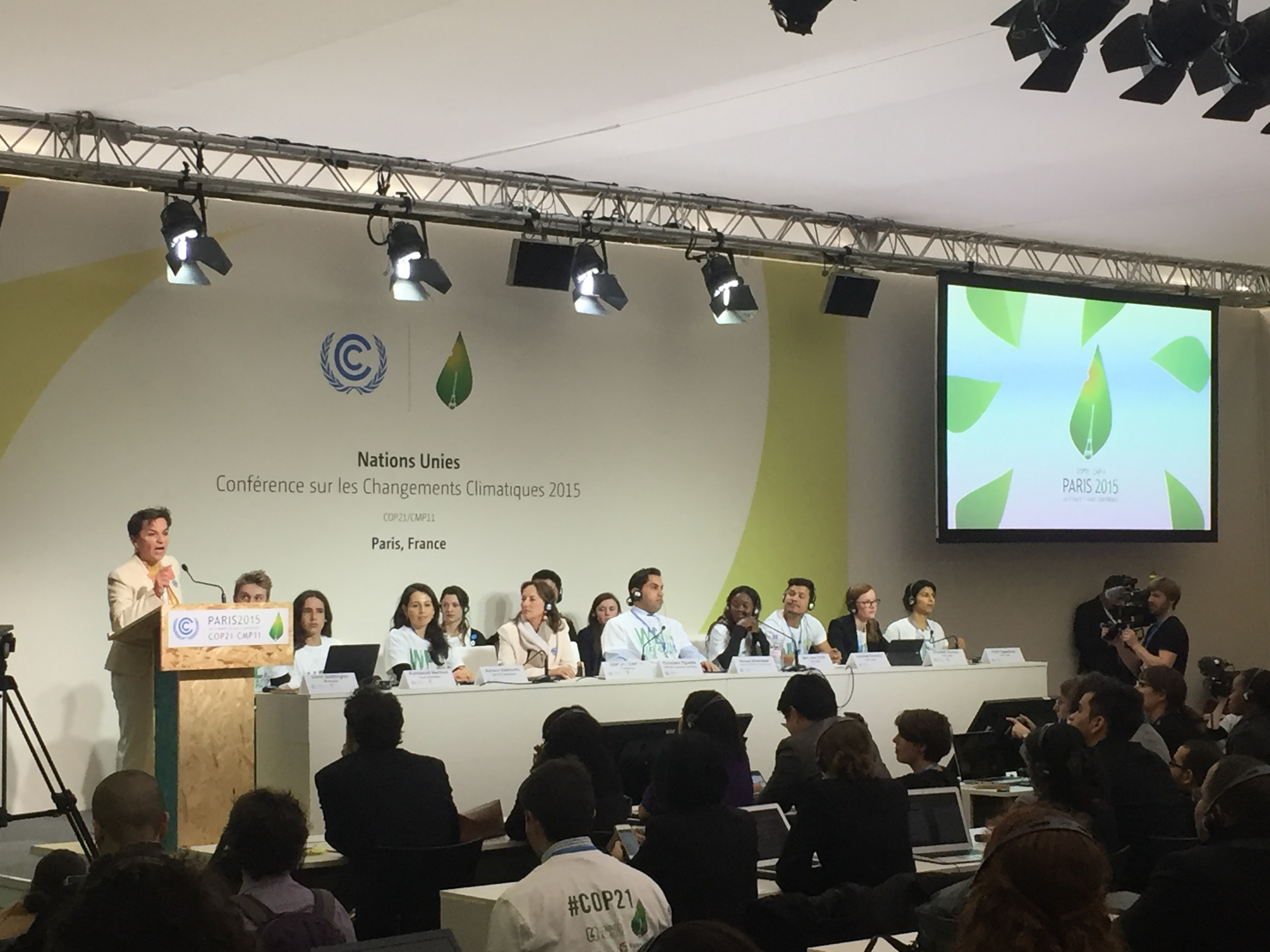 UNFCCC Executive Secretary Christiana Figueres speaking at Youth Day, COP21
