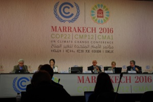 Panelists for Earth Information Day at COP22 in Marrakech, Morocco (Photo credit: Jennie Sun)